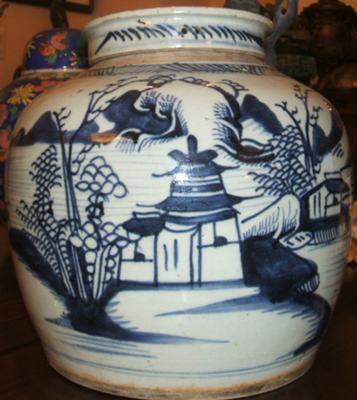 Antique Blue and White Chinese Ginger Jar