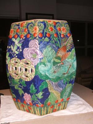 Antique Hand painted Chinese garden stool
