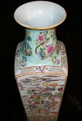 Antique Qing Dynasty Rose Famille Mandarin Vase