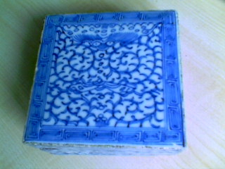 blue and white ink box