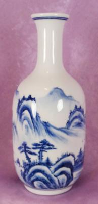 blue & white hand painted bottle