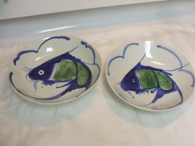 Chinese Bowl Koi Fish Blue And White