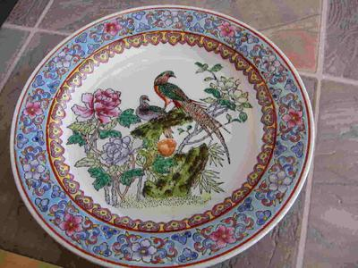 & Hand Painted Enamel Birds Plate Marked