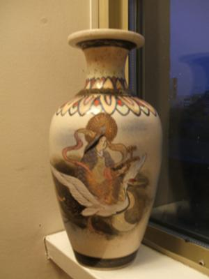 front of the vase