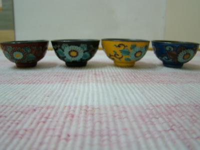 Oriental Cloisonne Cups with silver interior