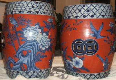 Groovy Pair Of Chinese Garden Stools Pabps2019 Chair Design Images Pabps2019Com