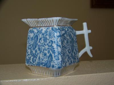 Small B&W Porcelain Pitcher w/gold