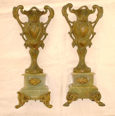 Two Antique Metal Vases On Jade Base