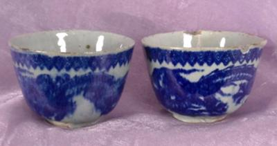 blue and grey teacups